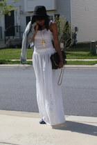 black H&M hat - black Aldo bag - navy Aldoo flats - white Forever 21 top - white