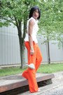 Orange-pants-light-orange-bag-beige-heels-white-blouse