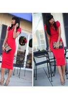 ruby red asoscom dress - brown leopard print asos bag
