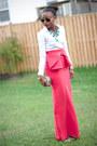 White-zara-shirt-carrot-orange-bow-aqua-by-aqua-skirt-teal-zara-necklace