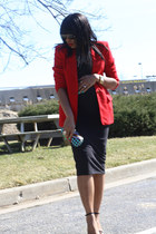 black bodycon asos dress - ruby red thrifted blazer
