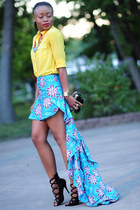 blue self-made skirt - yellow Jcrew blouse - black Bakers heels