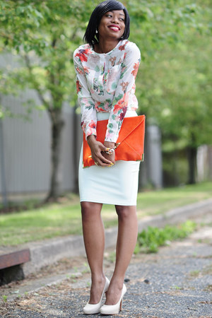 mint H&amp;M skirt - floral print H&amp;M shirt - envelop clutch asoscom bag