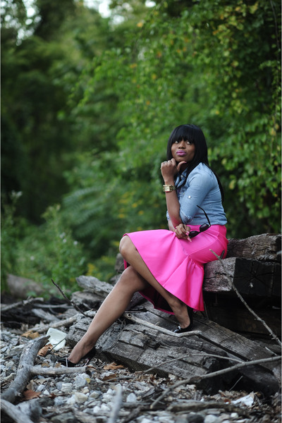hot pink asoscom skirt - blue denim Jcrew top