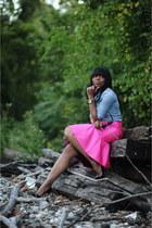 hot pink asoscom skirt - blue denim Jcrew top