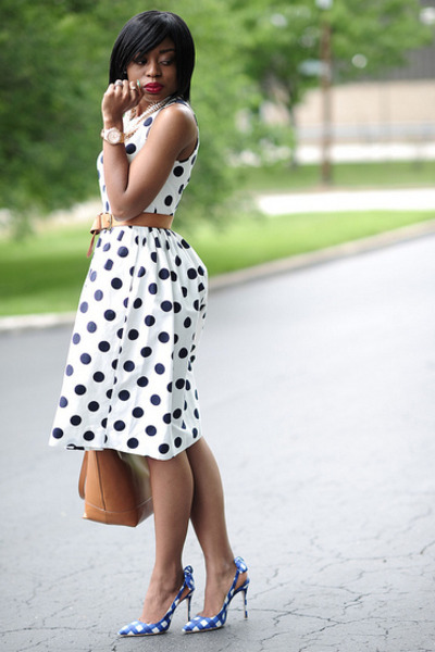 navy polka dots J Crew dress - tawny Zara bag - blue sling back Miu Miu pumps