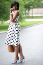 Navy-polka-dots-j-crew-dress-tawny-zara-bag-blue-sling-back-miu-miu-pumps