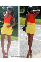 bronze platforms Jessica Simpson shoes - yellow Zara skirt - carrot orange Forev