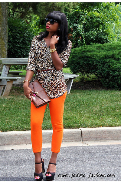 carrot orange Zara pants - dark brown envelope clutch H&M bag