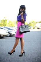 black Aldo pumps - black Aldo bag - hot pink Zara skirt - navy H&M blouse