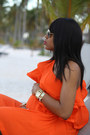 Carrot-orange-ruffles-asos-dress-camel-ray-ban-glasses