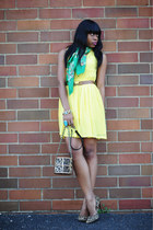 aquamarine scarf H&M scarf - yellow H&M dress