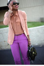 Neutral-h-m-trend-blazer-light-purple-jcrew-pants-bronze-forever-21-blouse