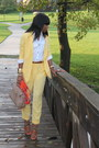 Yellow-mango-blazer-carrot-orange-h-m-scarf-tan-aldo-bag