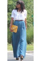 black platforms Jessica Simpson shoes - white Zara shirt - blue wide leg asos pa