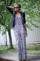 black H&M blazer - periwinkle jeans jacket Victorias Secret jacket