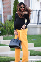 black Aldo bag - black asoscom top - orange wide leg Zara pants