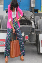 Zara blazer - H&M bag - floral print Topshop pants - Jessica Simpson heels