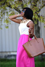 Brown-zara-bag-neutral-h-m-shirt-hot-pink-jcrew-skirt