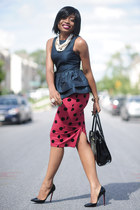 peplum asos top - polka dot asos shirt - Aldo bag - Christian Louboutin pumps