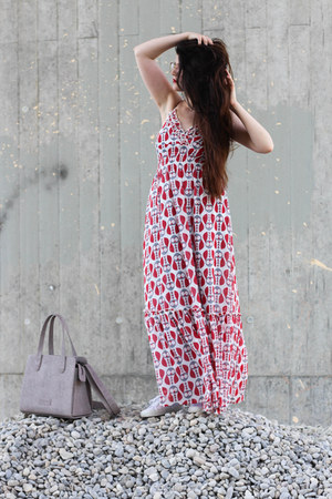 red yumi dress - heather gray Fritzi aus Preußen bag - white Superga sneakers