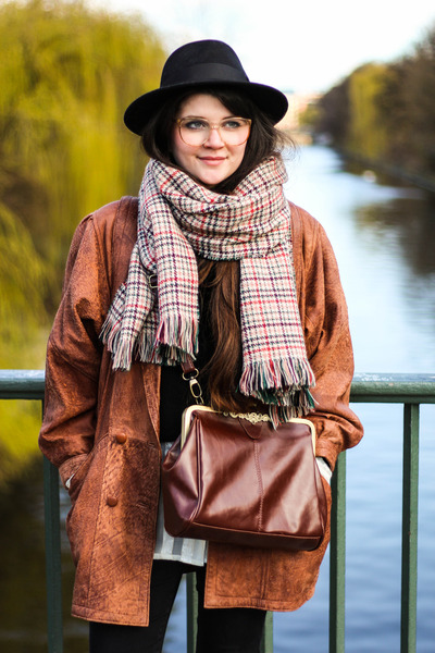 burnt orange vintage jacket - ruby red asos shoes - black Lierys hat
