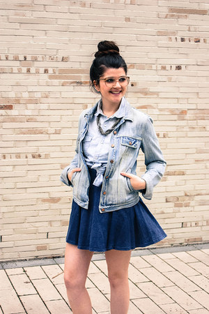 blue H&M skirt - sky blue marco polo jacket - sky blue boyfriend top