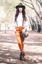 brown Frye boots - white karen millen shirt - gold Topshop pants