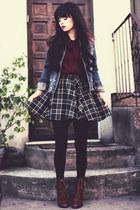 navy denim jacket white crow jacket - dark brown boots - brick red Spiegel shirt