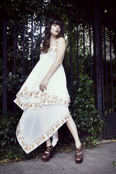 white Sheinside dress - dark brown Matiko heels