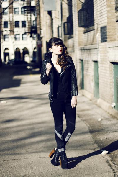 black Viparo jacket - black acne pants - black Jeffrey Campbell heels