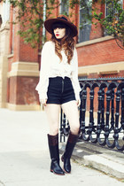brown vintage hat hat - black Riding Boots boots - white chiffon shirt shirt
