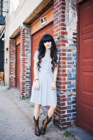 crimson Ariat boots - light blue vintage dress