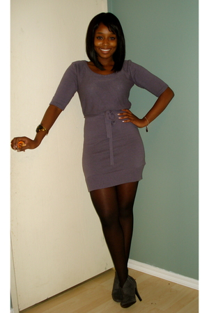purple vera moda dress - gray Charlotte Russe boots