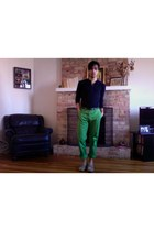 olive green cotton H&M pants - navy jersey H&M shirt