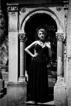 black shirt - black blouse - black necklace