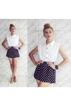 black skirt - peach shoes - white shirt - black bracelet