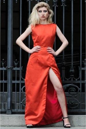 red dress - black sandals