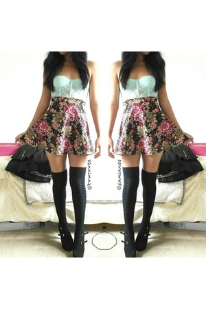 black thigh high socks - skater skirt Forever 21 skirt