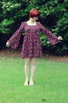 magenta Forever 21 dress - ivory peeptoe sandals Bongo heels