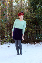 light blue Forever 21 sweater - gray polka dot Forever 21 tights