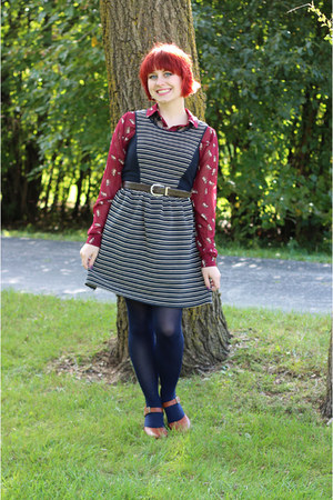 navy striped modcloth dress - maroon Cat print button down shirt