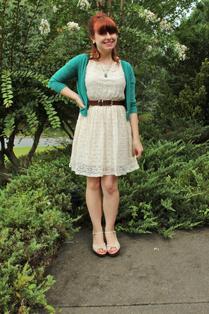 ivory lace Forever 21 dress - teal cropped Delias cardigan