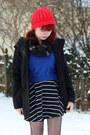 Black-striped-forever-21-dress-black-wool-old-navy-coat
