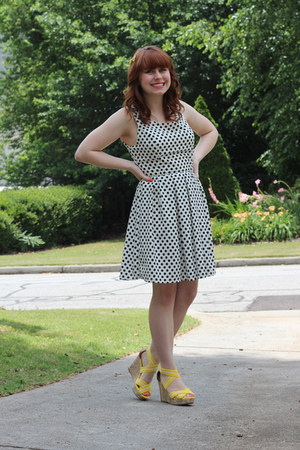 polka dot Forever 21 dress - stretchy strap merona wedges