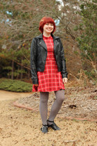 red plaid mock neck Forever 21 dress - black cutout Boohoo boots