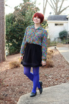 black Forever 21 skirt - blue nylon Walmart tights - violet vintage top