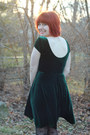 Forest-green-modcloth-dress-black-bow-print-forever-21-tights