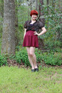Black-forever-21-shirt-maroon-skater-h-m-skirt-black-studded-xappeal-loafers