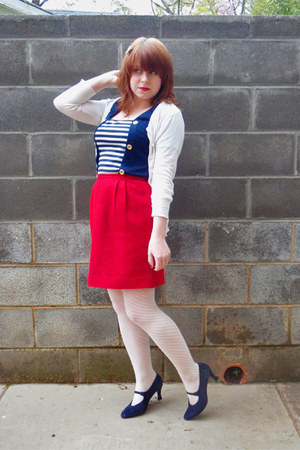 navy Beulah dress - ivory sheer striped Forever 21 tights - navy Mootsies Tootsi